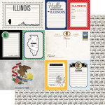 Scrapbook Customs - Vintage Travel Photo Journaling Collection - 12 x 12 Double Sided Paper - Illinois - Journal