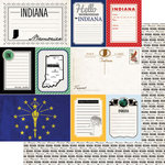 Scrapbook Customs - Vintage Travel Photo Journaling Collection - 12 x 12 Double Sided Paper - Indiana - Journal