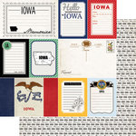 Scrapbook Customs - Vintage Travel Photo Journaling Collection - 12 x 12 Double Sided Paper - Iowa - Journal