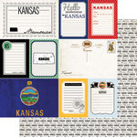 Scrapbook Customs - Vintage Travel Photo Journaling Collection - 12 x 12 Double Sided Paper - Kansas - Journal