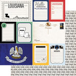 Scrapbook Customs - Vintage Travel Photo Journaling Collection - 12 x 12 Double Sided Paper - Louisiana - Journal