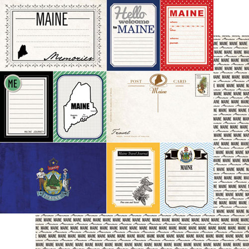 Scrapbook Customs - Vintage Travel Photo Journaling Collection - 12 x 12 Double Sided Paper - Maine - Journal