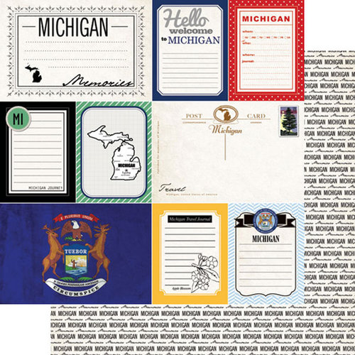 Scrapbook Customs - Vintage Travel Photo Journaling Collection - 12 x 12 Double Sided Paper - Michigan - Journal