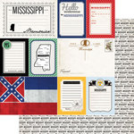Scrapbook Customs - Vintage Travel Photo Journaling Collection - 12 x 12 Double Sided Paper - Mississippi - Journal