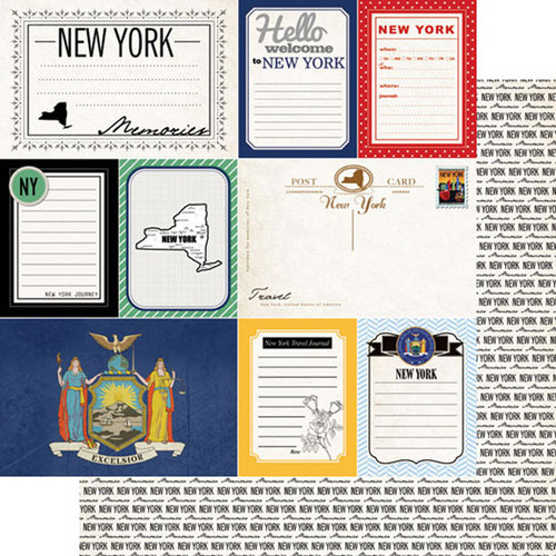 Scrapbook Customs - Vintage Travel Photo Journaling Collection - 12 x 12 Double Sided Paper - New York - Journal
