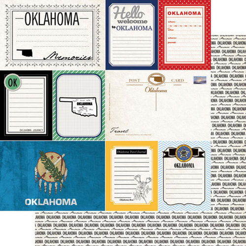 Scrapbook Customs - Vintage Travel Photo Journaling Collection - 12 x 12 Double Sided Paper - Oklahoma - Journal