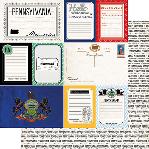 Scrapbook Customs - Vintage Travel Photo Journaling Collection - 12 x 12 Double Sided Paper - Pennsylvania - Journal