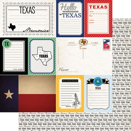 Scrapbook Customs - Vintage Travel Photo Journaling Collection - 12 x 12 Double Sided Paper - Texas - Journal