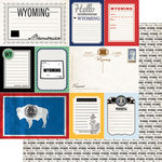 Scrapbook Customs - Vintage Travel Photo Journaling Collection - 12 x 12 Double Sided Paper - Wyoming - Journal