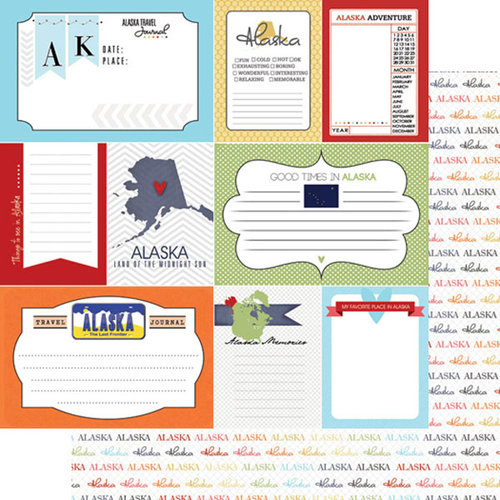 Scrapbook Customs - Travel Photo Journaling Collection - 12 x 12 Double Sided Paper - Alaska - Journal