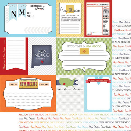 Scrapbook Customs - Travel Photo Journaling Collection - 12 x 12 Double Sided Paper - New Mexico - Journal