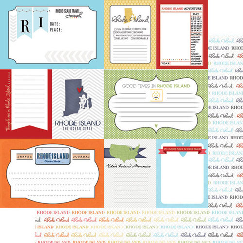 Scrapbook Customs - Travel Photo Journaling Collection - 12 x 12 Double Sided Paper - Rhode Island - Journal