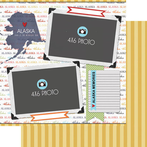 Scrapbook Customs - Travel Photo Journaling Collection - 12 x 12 Double Sided Paper - Alaska - Quick Page Journal