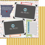 Scrapbook Customs - Travel Photo Journaling Collection - 12 x 12 Double Sided Paper - Arkansas - Quick Page Journal