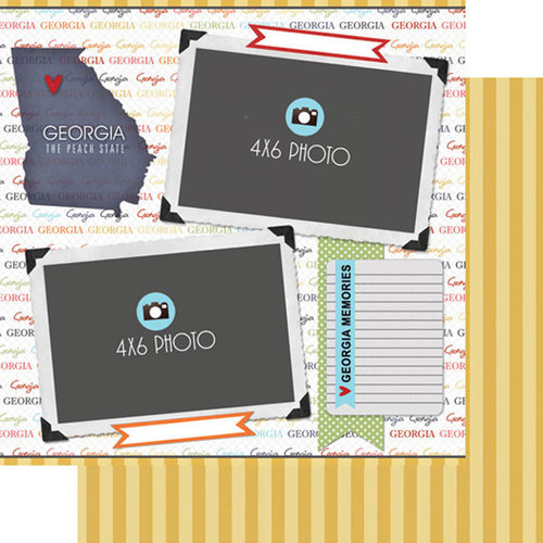Scrapbook Customs - Travel Photo Journaling Collection - 12 x 12 Double Sided Paper - Georgia - Quick Page Journal
