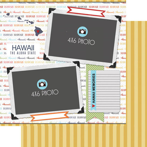 Scrapbook Customs - Travel Photo Journaling Collection - 12 x 12 Double Sided Paper - Hawaii - Quick Page Journal