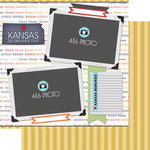 Scrapbook Customs - Travel Photo Journaling Collection - 12 x 12 Double Sided Paper - Kansas - Quick Page Journal