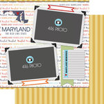 Scrapbook Customs - Travel Photo Journaling Collection - 12 x 12 Double Sided Paper - Maryland - Quick Page Journal