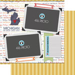 Scrapbook Customs - Travel Photo Journaling Collection - 12 x 12 Double Sided Paper - Michigan - Quick Page Journal