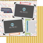 Scrapbook Customs - Travel Photo Journaling Collection - 12 x 12 Double Sided Paper - Nebraska - Quick Page Journal