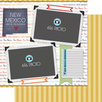 Scrapbook Customs - Travel Photo Journaling Collection - 12 x 12 Double Sided Paper - New Mexico - Quick Page Journal
