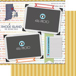 Scrapbook Customs - Travel Photo Journaling Collection - 12 x 12 Double Sided Paper - Rhode Island - Quick Page Journal
