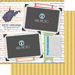 Scrapbook Customs - Travel Photo Journaling Collection - 12 x 12 Double Sided Paper - West Virginia - Quick Page Journal
