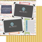 Scrapbook Customs - Travel Photo Journaling Collection - 12 x 12 Double Sided Paper - Wyoming - Quick Page Journal