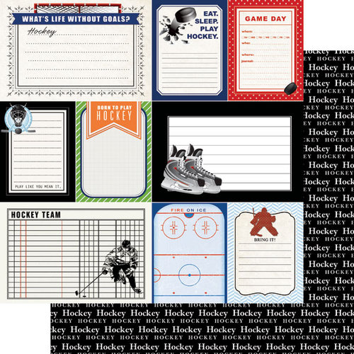 Scrapbook Customs - Sports Pride Collection - 12 x 12 Double Sided Paper - Hockey - Journal