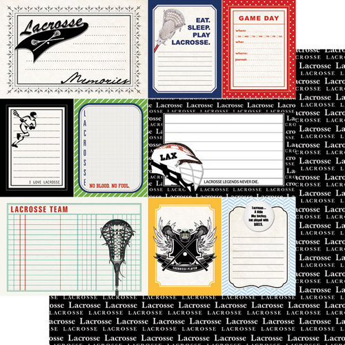 Scrapbook Customs - Sports Pride Collection - 12 x 12 Double Sided Paper - Lacrosse - Journal