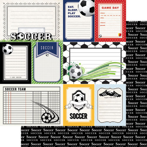 Scrapbook Customs - Sports Pride Collection - 12 x 12 Double Sided Paper - Soccer - Journal