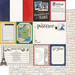 Scrapbook Customs - Travel Photo Journaling Collection - 12 x 12 Double Sided Paper - France