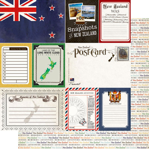 Scrapbook Customs - Travel Photo Journaling Collection - 12 x 12 Double Sided Paper - New Zealand