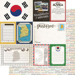 Scrapbook Customs - Travel Photo Journaling Collection - 12 x 12 Double Sided Paper - South Korea