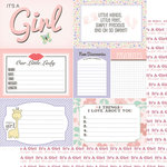 Scrapbook Customs - 12 x 12 Double Sided Paper - Journal Cards - Baby Girl
