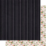 Scrapbook Customs - 12 x 12 Double Sided Paper - Happy Birthday Black Stripe and Flowers
