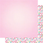 Scrapbook Customs - 12 x 12 Double Sided Paper - Tiny Easter Eggs and Pink Gingham