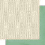 Scrapbook Customs - 12 x 12 Double Sided Paper - Fathers Day Dad Green and Tan Chevron