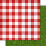 Scrapbook Customs - 12 x 12 Double Sided Paper - Picnic Table Cloth
