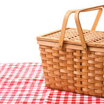 Scrapbook Customs - 12 x 12 Paper - Picnic Basket on Blanket