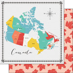 Scrapbook Customs - 12 x 12 Double Sided Paper - Canada Memories Map