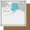 Scrapbook Customs - 12 x 12 Double Sided Paper - Alaska Memories Map
