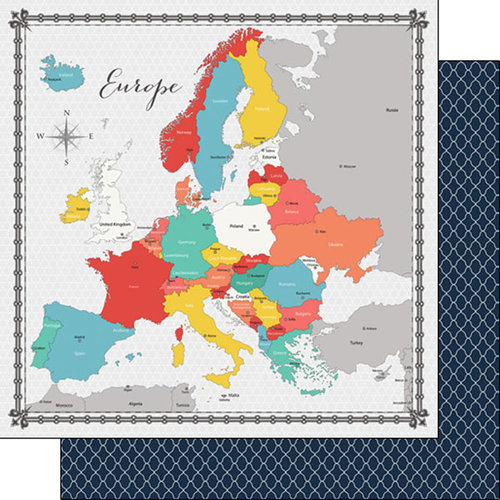Scrapbook Customs - 12 x 12 Double Sided Paper - Europe Memories Map