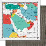 Scrapbook Customs - 12 x 12 Double Sided Paper - Middle East Memories Map