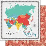Scrapbook Customs - 12 x 12 Double Sided Paper - Asia Memories Map