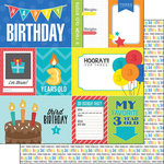 Scrapbook Customs - Happy Birthday Collection - 12 x 12 Double Sided Paper - 3rd Birthday