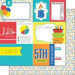 Scrapbook Customs - Happy Birthday Collection - 12 x 12 Double Sided Paper - 5th Birthday