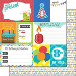 Scrapbook Customs - Happy Birthday Collection - 12 x 12 Double Sided Paper - 8th Birthday