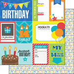 Scrapbook Customs - Happy Birthday Collection - 12 x 12 Double Sided Paper - 14th Birthday