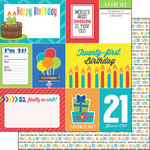 Scrapbook Customs - Happy Birthday Collection - 12 x 12 Double Sided Paper - 21st Birthday